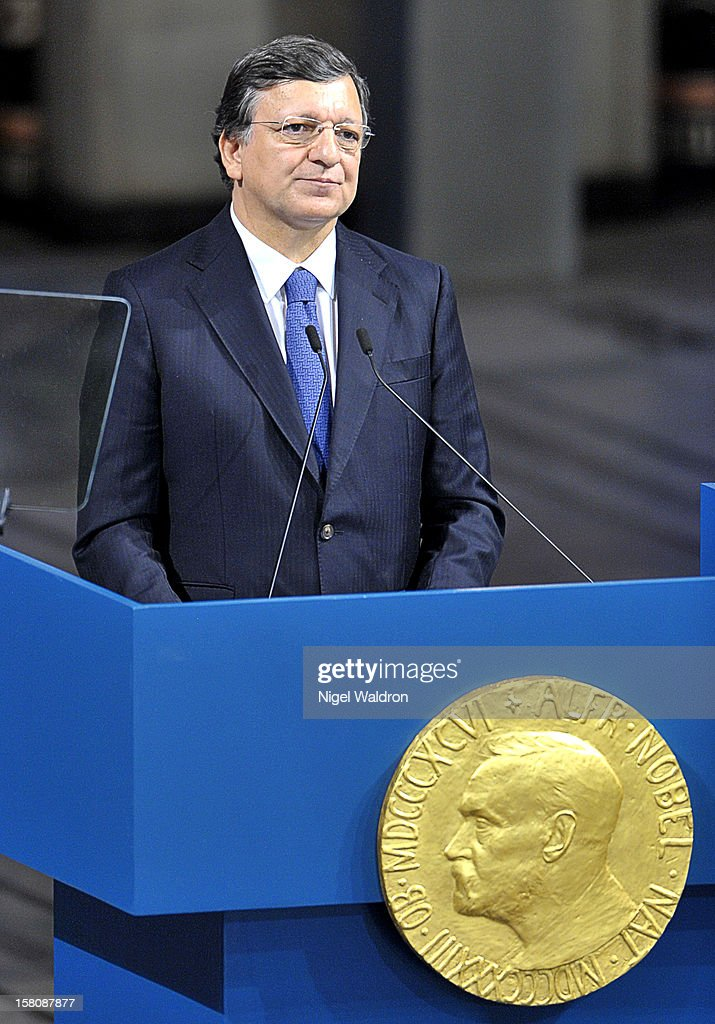 European Commission President Jose Manuel Barroso of Portugal delivers the acceptance speech to the audience during the Nobel Peace Prize Award Ceremony at Oslo City Hall on December 10, 2012 in Oslo, Norway.
