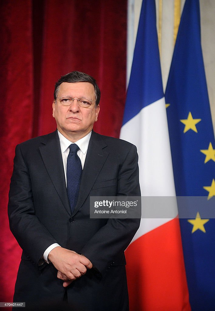 European Commission President Jose Manuel Barroso, poses during a joint press conference with French President Francois Hollande and German Chancellor Angela Merkel, on February 19, 2014 in Paris, France. French President and German Chancellor strongly condemned today the deadly violence in Ukraine during an European round table.