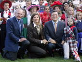 European Commission President Jose Manuel Barroso poses with his wife Margarida Sousa Uva European Commissioner Jacques Barrot and children wearing...