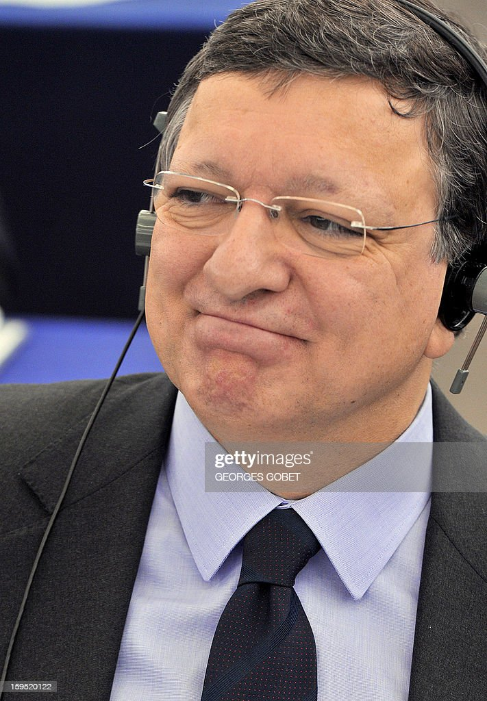 European Commission President Jose Manuel Barroso smiles as Cypriot President delivers a speech on January 15, 2013 in Strasbourg, eastern France. The European Parliament will review Cyprus' Presidency of Council during the session.