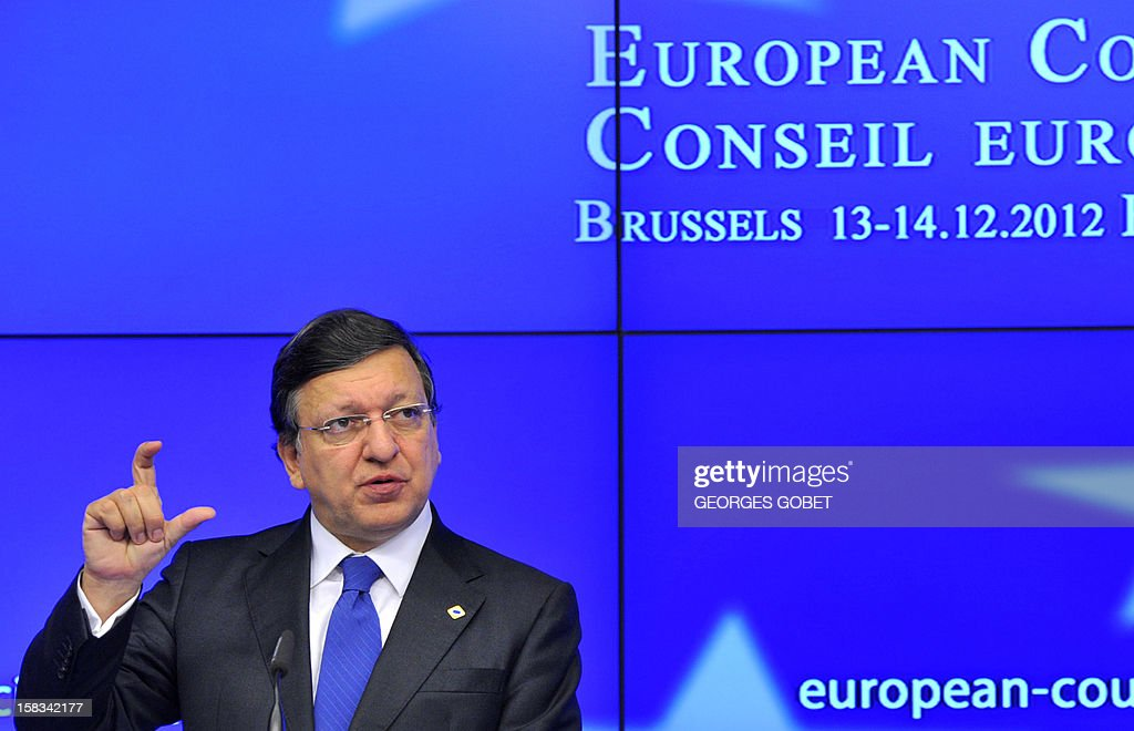 European Commission President Jose Manuel Barroso speaks at a press conference at the EU Headquarters on December 13, 2012 in Brussels, on the first day of a two-day European Union leaders summit called to agree a hotly-contested trillion-euro budget through 2020. European leaders kicked off the last summit of a crisis-hit year to thrash out the euro's future Thursday, full of Christmas cheer after clinching deals on bank supervision and funding for Greece.