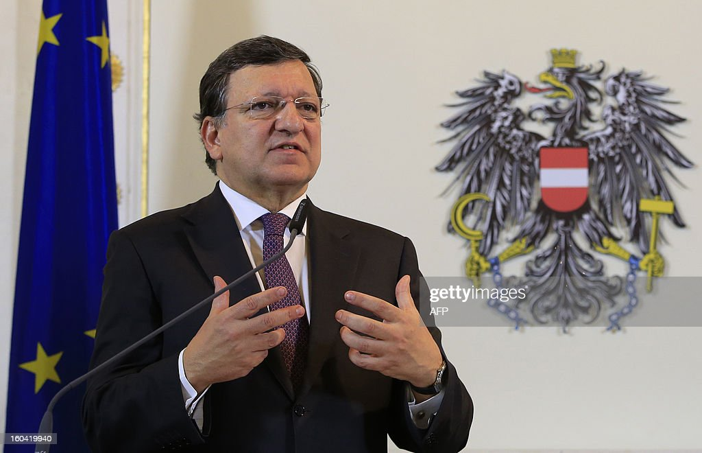 European Commission President Jose Manuel Barroso speaks during a joint press conference with Austrian Chancellor Faymann in Vienna, Austria on January 31, 2013.