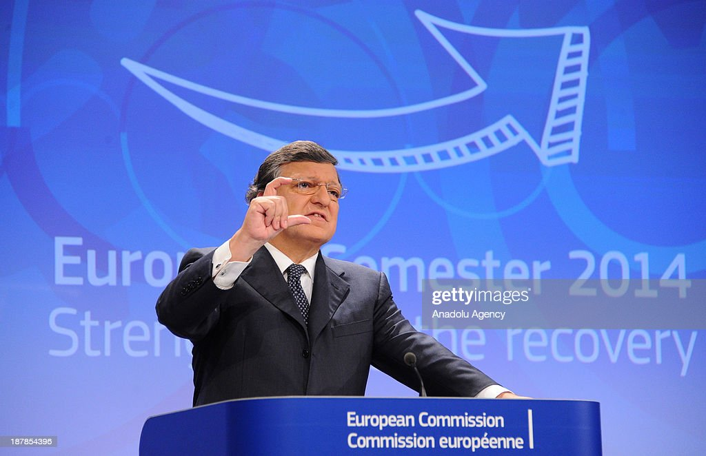 European Commission President Jose Manuel Barroso speaks during the press conference holding with European Commissioner for Economic and Monetary...