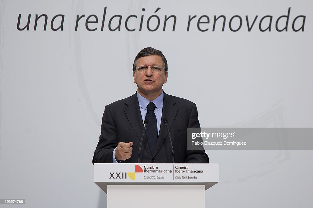 European Commission president Jose Manuel Barroso speaks on a press conference during the last day of the XXII IberoAmerican Summit at Congress...