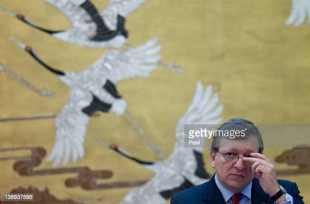 European Commission President Jose Manuel Barroso speaks to reporters at a press conference at the Great Hall of the People during the European Union...