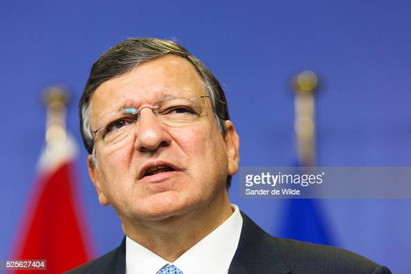 European Commission President Jose Manuel Barroso speaks to the press prior to a meeting at the EU headquarters in Brussels with Egyptian President...