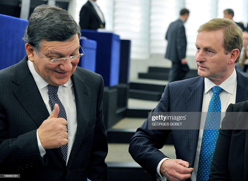 European Commission President Jose Manuel Barroso (L) talks to Irish Prime Minister Enda Kenny on January 16, 2013 at the European Parliament in Strasbourg. Enda Kenny will present to the European Parliament the Irish Presidency programme and priorities for the country's six-month EU presidency which runs to June.