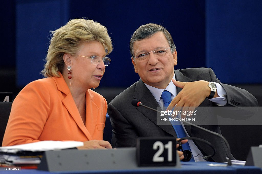 European Commission President Jose Manuel Barroso (R) talks with Vice-president of the European Commission and EU commissioner for Justice, Fundamental Rights and Citizenship, Viviane Reding, prior to present his flagship plans to Parliament in his annual State of the Union speech on September 12, 2012 in Strasbourg, northeastern France.