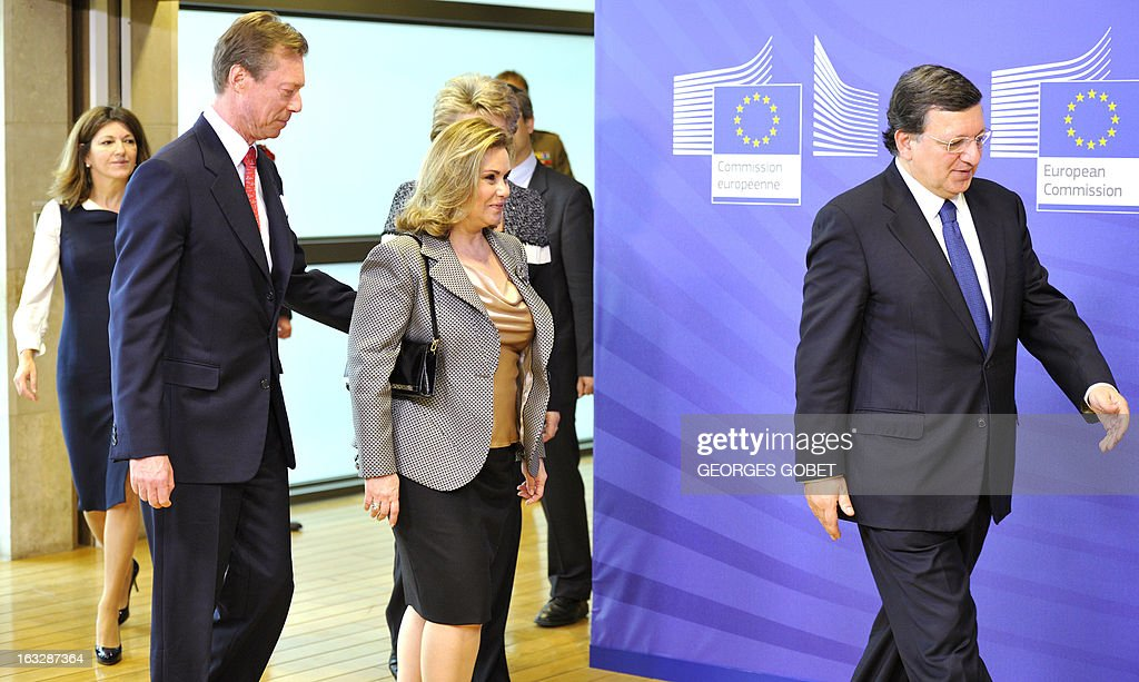 European Commission President Jose Manuel Barroso (R) welcomes Grand-Duchess Maria Teresa of Luxembourg (C) and Grand-Duke Henri of Luxembourg (L) prior to their working session on March 7, 2013 at the EU Headquarters in Brussels.