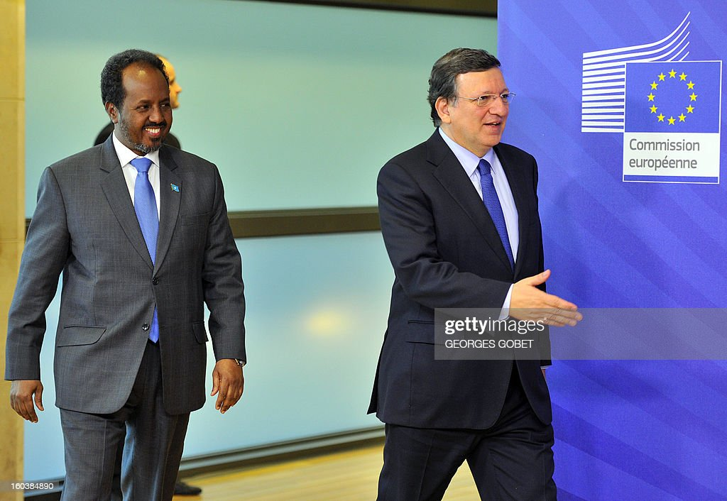 European Commission President Jose Manuel Barroso (R) welcomes President of Somalia Hassan Sheikh Mohamud prior to their working session on January 30, 2013 at the EU Headquarters in Brussels.