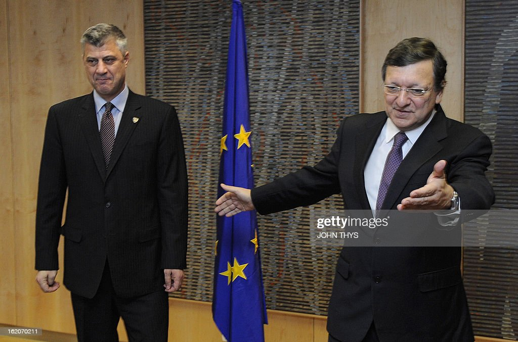 European Commission President Jose Manuel Barroso (R) welcomes Prime Minister of Kosovo Hashim Thaci (L) ahad of their meeting at the EU Headquarters in Brussels on February 19, 2013.