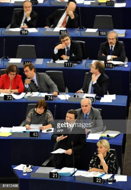 European Commission President Portuguese Jose Manuel Barroso addresses the European Parliament during a debate on the preparation of the upcoming...