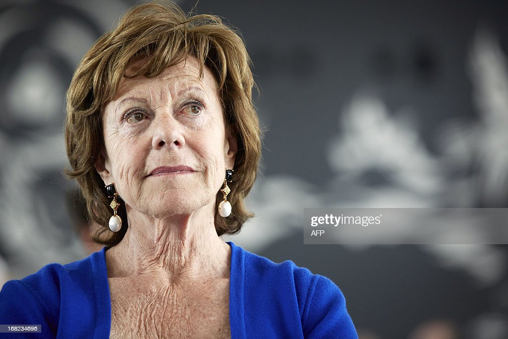 European Commission Vice President in charge of the digital agenda, Neelie Kroes of the Netherlands takes part in the ''Europe Day ''at the Ministry of Economic Affairs in The Hague, on May 7, 2013. Kroes talked with Dutch Minister of Economics Henk Kamp and entrepreneurs about how the Netherlands can continue to keep a leading role in ICT field. AFP PHOTO/ANP/ MARTIJN BEEKMAN netherlands out