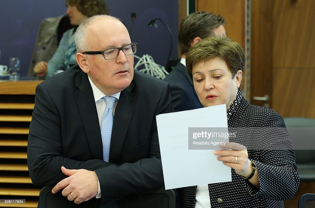 European Commission Vice-President Frans Timmermans (L) and European Commissioner Kristalina Georgieva (R) attends a meeting on European Commission's third visa liberalization progress reports for Turkey, Ukraine, Georgia and Kosovo in Brussels, Belgium on May 04, 2016.