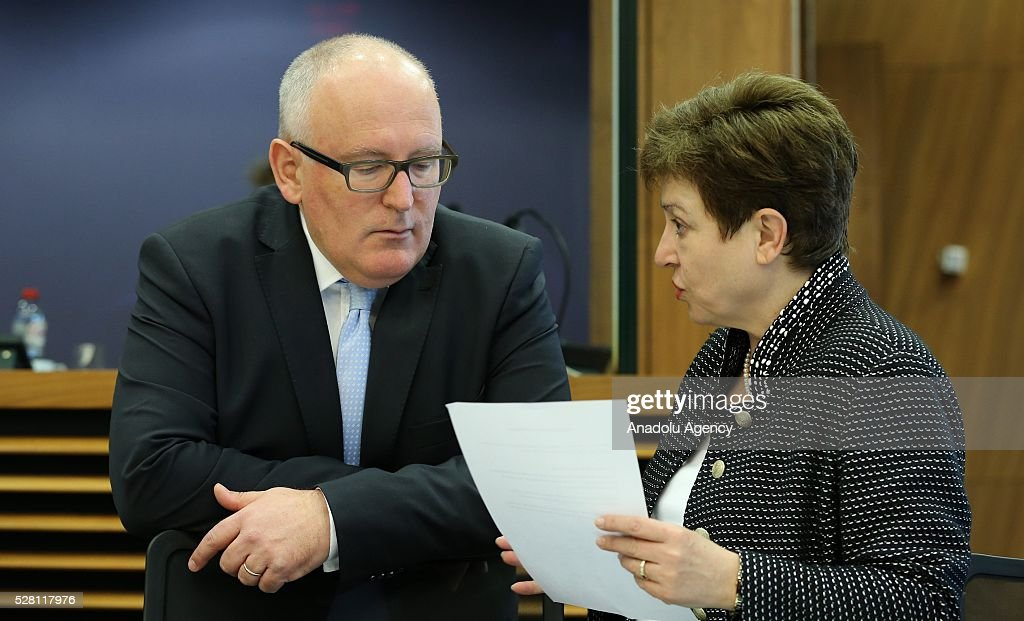European Commission Vice-President Frans Timmermans (L) and European Commissioner Kristalina Georgieva (R) attend a meeting on European Commission's third visa liberalization progress reports for Turkey, Ukraine, Georgia and Kosovo in Brussels, Belgium on May 04, 2016.