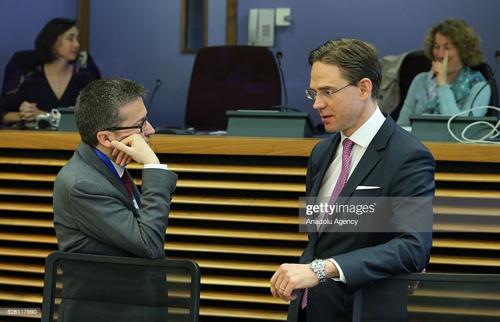 European Commission Vice-President Jyrki Katainen (R) attend a meeting on European Commission's third visa liberalization progress report for Turkey in Brussels, Belgium on May 04, 2016.