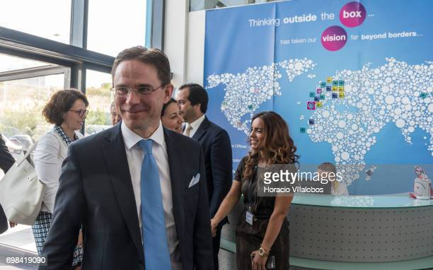 European Commission VicePresident Jyrki Katainen in charge of Jobs Growth Investment and Competitiveness arrives to visit VisionBox on June 20 2017...