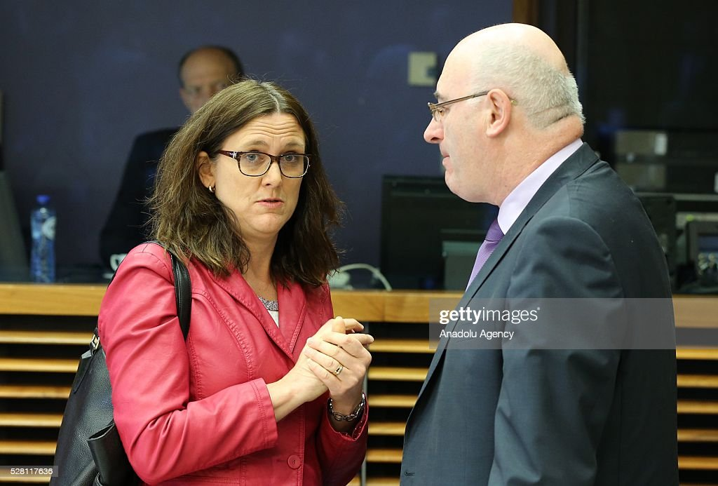 European Commissioner Cecilia Malmstrom (L) attends a meeting on European Commission's third visa liberalization progress reports for Turkey, Ukraine, Georgia and Kosovo in Brussels, Belgium on May 04, 2016.