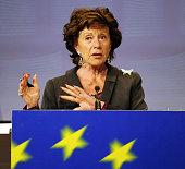 European commissioner for competion Neelie Kroes of the Netherlands holds a press conference on stateaided banks on May 12 at the European commission...