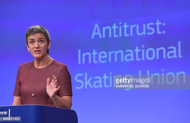 European Commissioner for Competition Margrethe Vestager addresses a press conference about the International Skating Union's restrictive penalties...