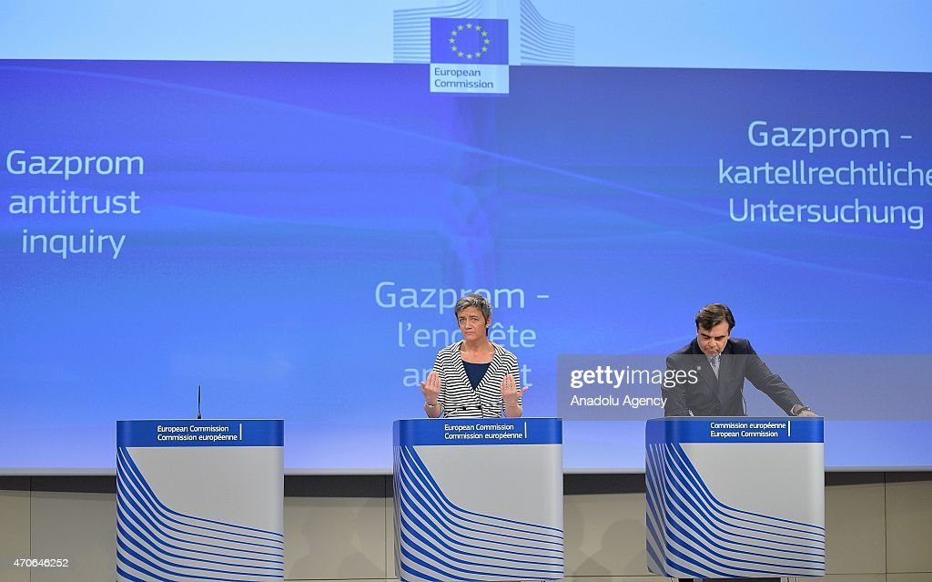 European Commissioner for Competition Margrethe Vestager speaks to the press about the Russian energy company Gazprom at the European Commission...