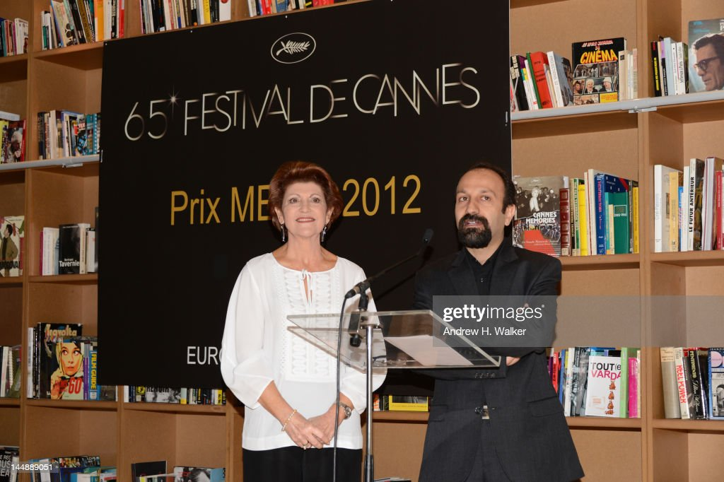 European Commissioner for Culture Androulla Vassiliou looks on as director Asghar Farhadi speaks during the presentation of the Media Prize of the...