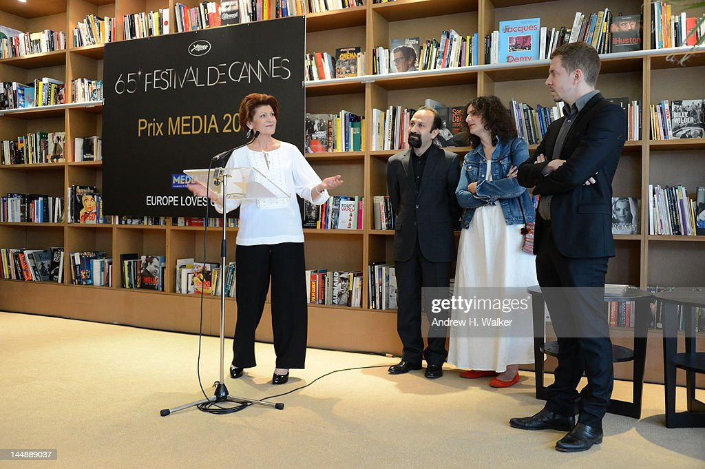 European Commissioner for Culture Androulla Vassiliou speaks as director Asghar Farhadi and producer Alexandre Mallet Guy look on during the...