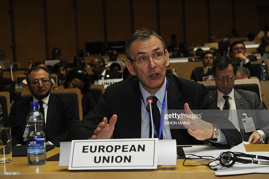 European Commissioner for Development Andris Piebalgs speaks at the Donor Conference on Mali January 29 2013 in Addis Ababa Ethiopia The However...