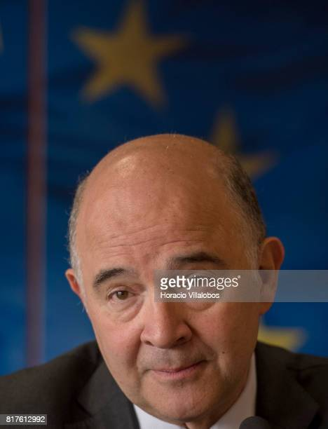 European Commissioner for Economic and Financial Affairs Taxation and Customs Pierre Moscovici speaks to the press at the European Commission...