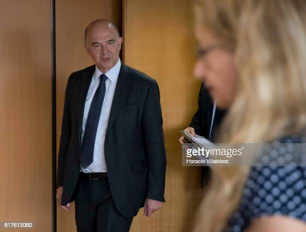 European Commissioner for Economic and Financial Affairs Taxation and Customs Pierre Moscovici arrives to speak to the press at the European...