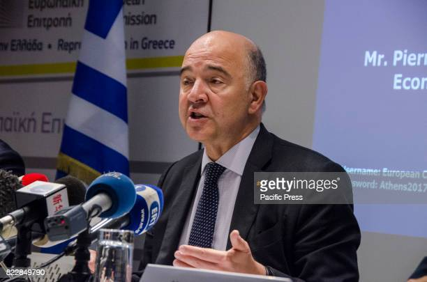 European Commissioner for Economic and Financial Affairs Taxation and Customs Pierre Moscovici gives a press conference about his meetings with Greek...