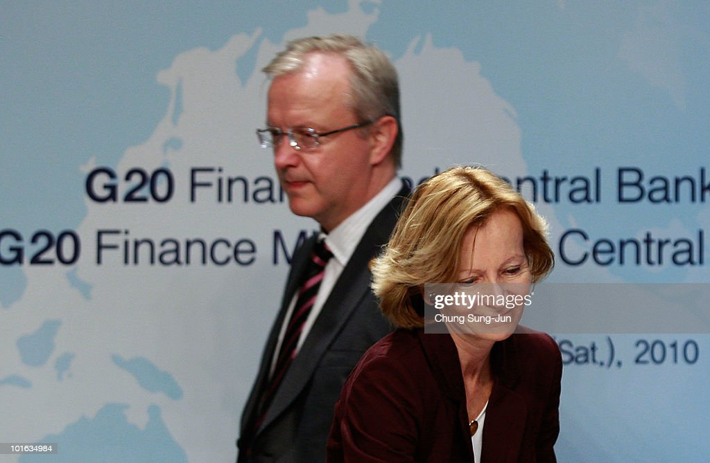 European Commissioner for Economic and Monetary Affairs <a gi-track='captionPersonalityLinkClicked' href=/galleries/search?phrase=Olli+Rehn&family=editorial&specificpeople=584845 ng-click='$event.stopPropagation()'>Olli Rehn</a> and EU Finance Minister Elena Salgado attend a press conference at the G-20 Financial Ministers and Central Governors meeting at Grand Hotel on June 5, 2010 in Busan, South Korea. G-20 countries discussed to tackle financial crisis caused by IMF's intervention to Greece and to achieve sustainable global growth.