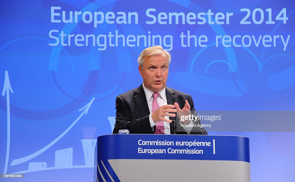 European Commissioner for Economic and Monetary Affairs Olli Rehn speaks during the press conference holding with European Commission President Jose...