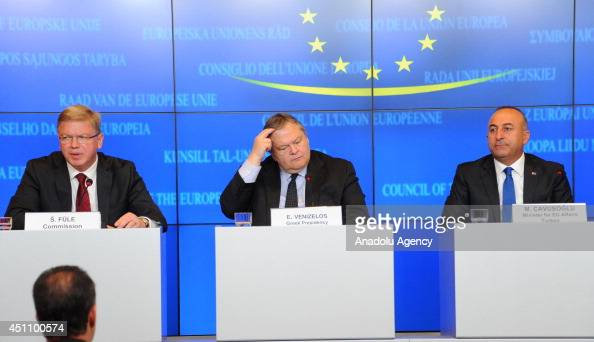 European Commissioner for Enlargement and European Neighbourhood Policy Stefan Fule Minister for Foreign Affairs of Greece Evangelos Venizelos and...