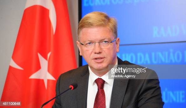 European Commissioner for Enlargement and European Neighbourhood Policy Stefan Fule speaks during joint press conference after the 52nd TurkeyEU...