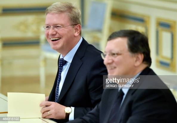 European Commissioner for Enlargement and European Neighbourhood Policy Stefan Fule and European Commission president Jose Manuel Barroso hold talks...