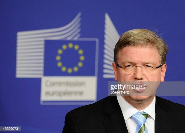 European Commissioner for Enlargement and European Neighbourhood Policy Stefan Fule speaks during a joint press conference with the Ukrainian Deputy...