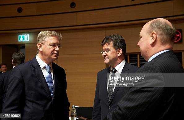 European Commissioner for Enlargement and European Neighbourhood Policy Stefan Fule and Slovakian Foreign Minister Miroslav Lajcak are seen during a...