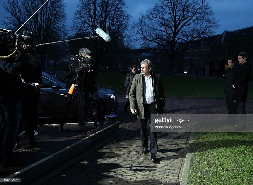 European Commissioner for European Neighbourhood Policy and Enlargement Negotiations, Johannes Hahn arrives to take part in Informal Gymnich meeting of EU foreign ministers in Amsterdam, Netherlands on February 6, 2016.