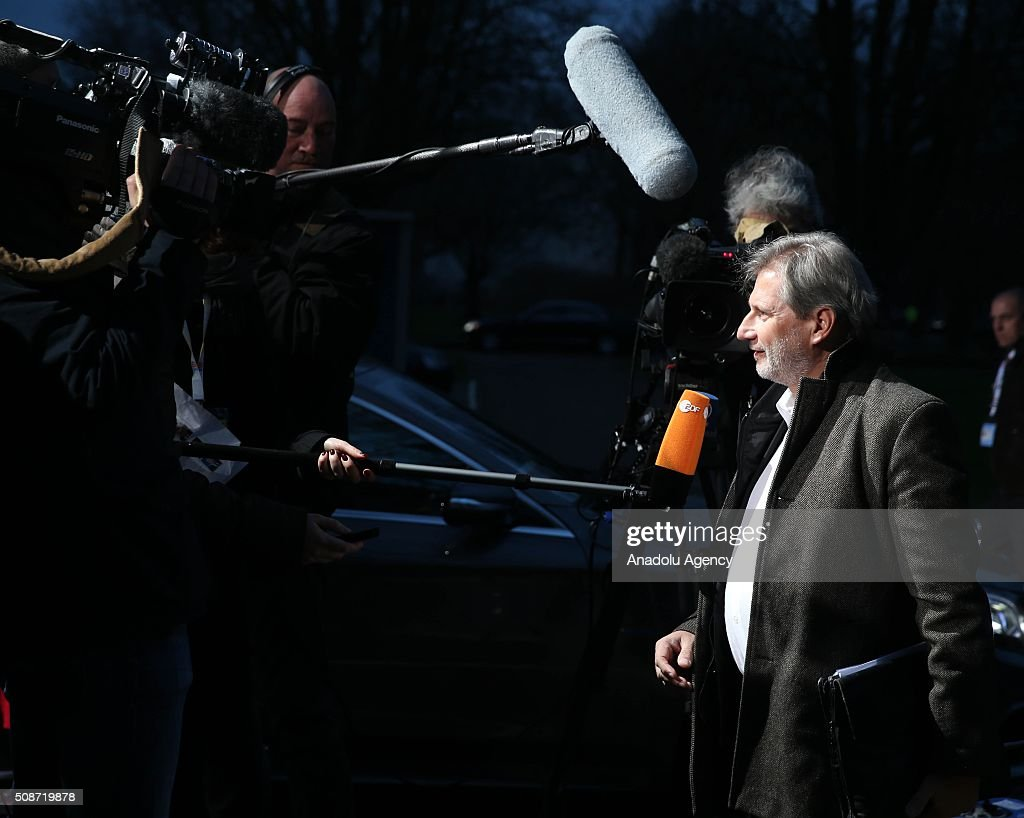 European Commissioner for European Neighbourhood Policy and Enlargement Negotiations, Johannes Hahn answers journalist questions as he arrives to take part in Informal Gymnich meeting of EU foreign ministers in Amsterdam, Netherlands on February 6, 2016.