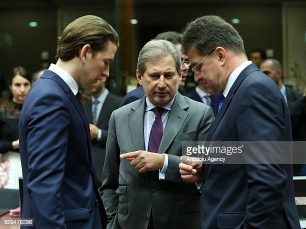 European Commissioner for European Neighbourhood Policy and Enlargement Negotiations Johannes Hahn Slovakian Foreign Minister Miroslav Lajcak and...