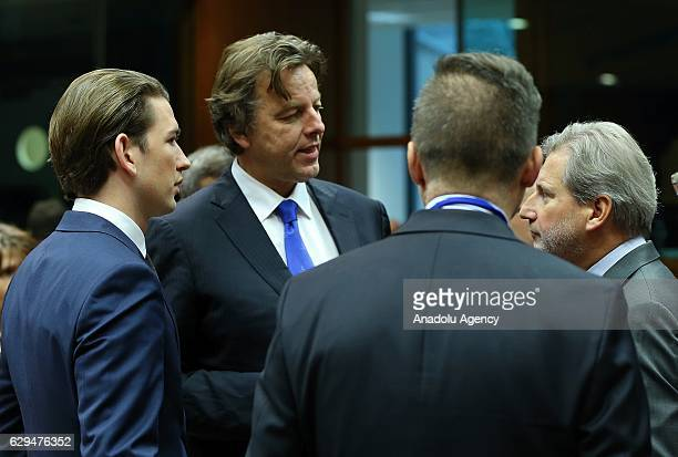 European Commissioner for European Neighbourhood Policy and Enlargement Negotiations Johannes Hahn Dutch Foreign Minister Bert Koenders and Austrian...