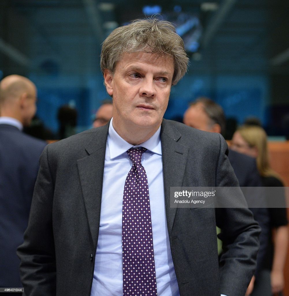 European Commissioner for Financial Stability Financial Services and Capital Markets Union Jonathan Hill participates the Eurogroup finance ministers...