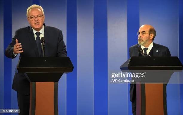 European Commissioner for International Cooperation and Development Neven Mimica speaks next to Food and Agriculture Organization general director...
