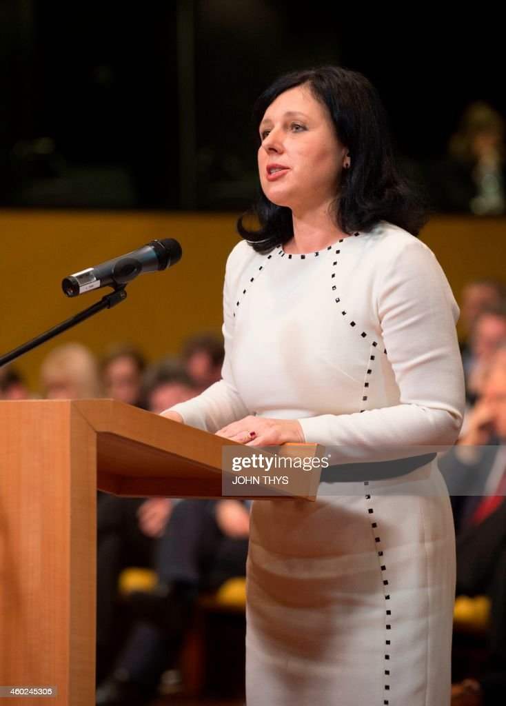 European Commissioner for Justice Consumers and Gender Equality Vera Jourova speaks during a solemn undertaking before the Court of Justice of the...