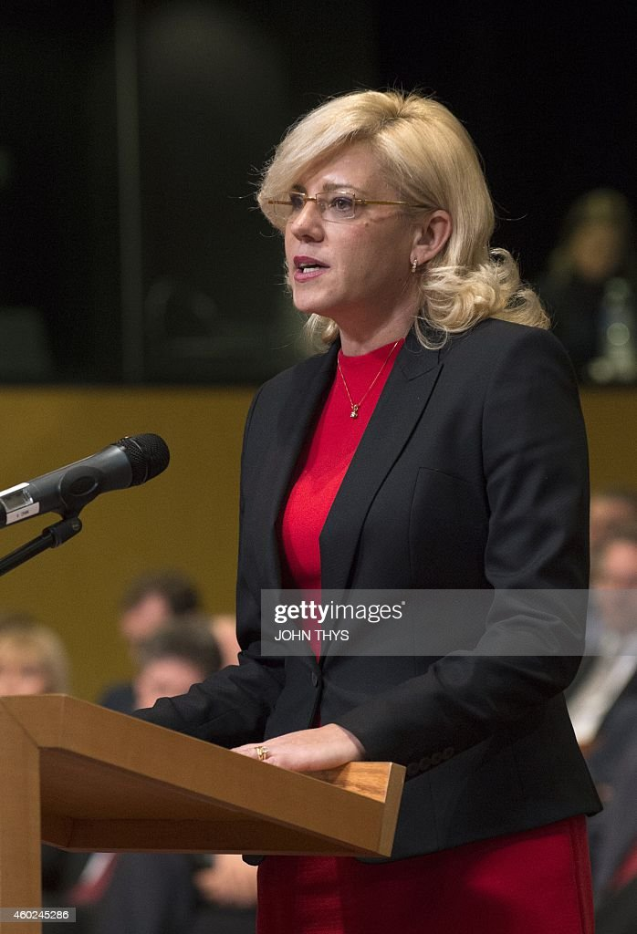European Commissioner for Regional Policy Corina Cretu speaks during a solemn undertaking before the Court of Justice of the European Union in...