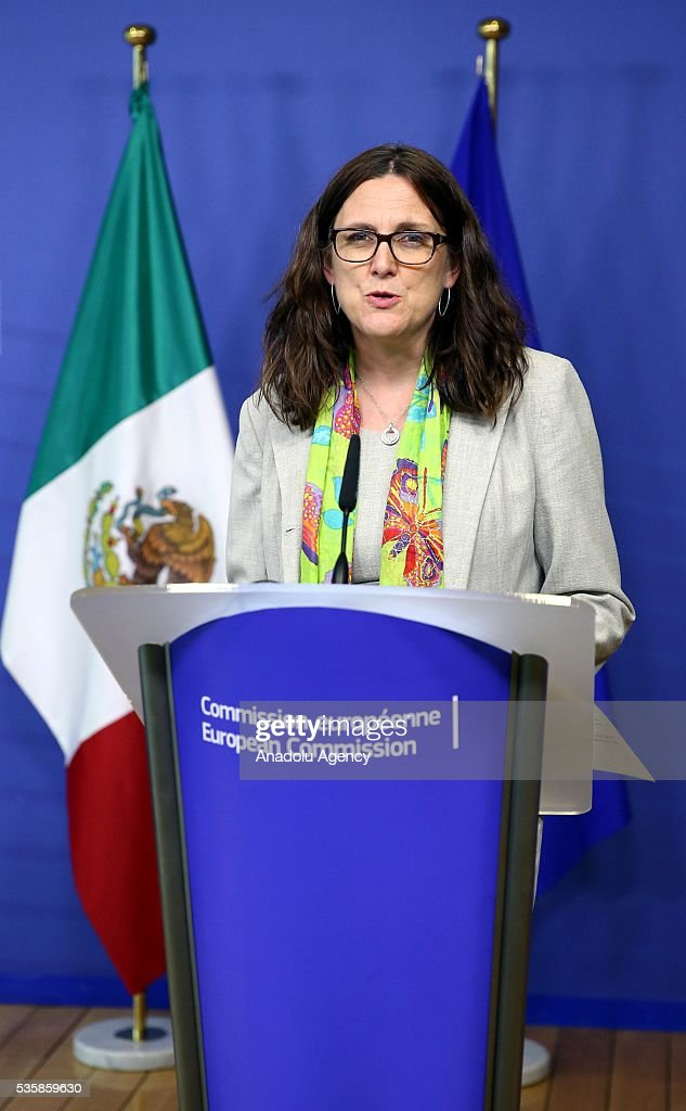 European Commissioner for Trade, Cecilia Malmstrom delivers a speech during a joint press conference with Mexican Economy Minister Ildefonso Guajardo Villarreal (not seen) after a meeting in Brussels, Belgium on May 30, 2016.