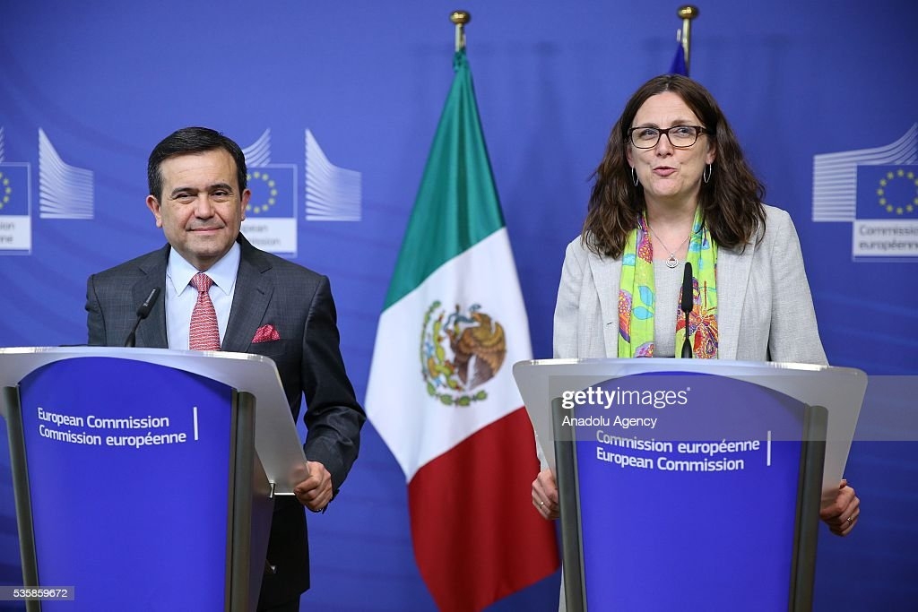 European Commissioner for Trade, Cecilia Malmstrom (R) delivers a speech during a joint press conference with Mexican Economy Minister Ildefonso Guajardo Villarreal (L) after a meeting in Brussels, Belgium on May 30, 2016.