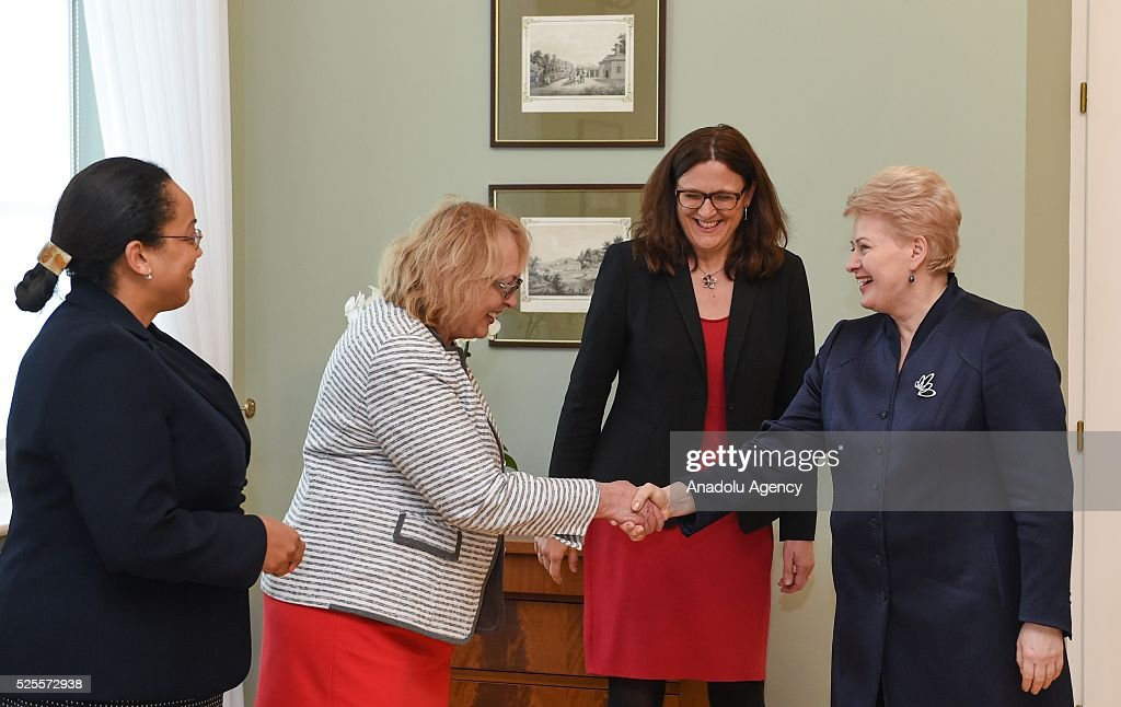 European Commissioner for Trade Cecilia Malmstrom (2nd R) meets with Lithuanian President Dalia Grybauskaite (R) at Presidential Palace in Vilnius, Lithuania on April 28, 2016.