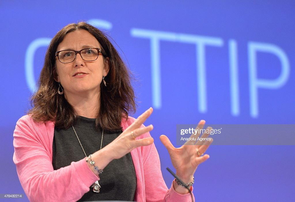 European Commissioner for Trade Cecilia Malmstrom speaks during a press briefing about the Transatlantic Trade and Investment Partnership Negotiations between European Union and U.S. at the European Commission headquarters in Brussels, Belgium, on April 20, 2015.